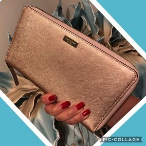 Kate Spade Large Wallet/ Clutch In rose gold